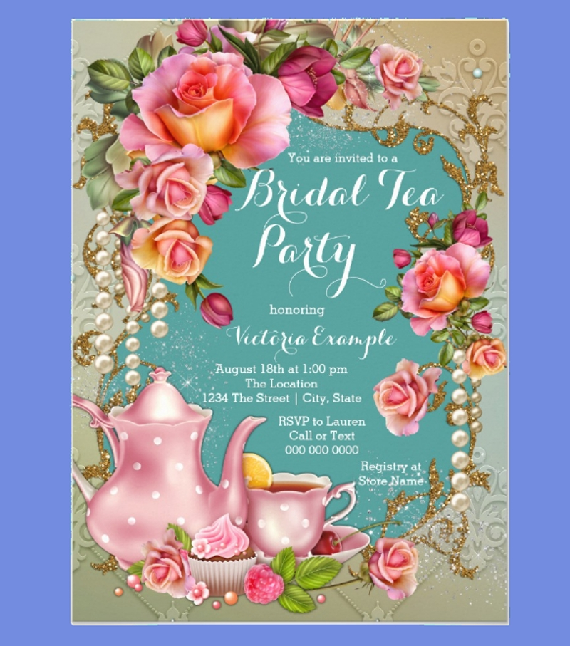 rose pearl bridal tea party invitation