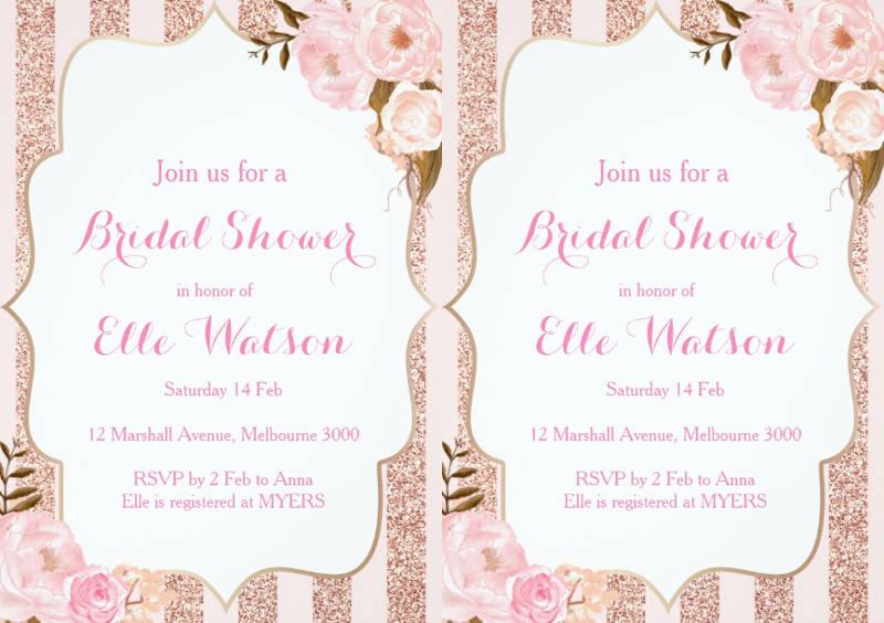 rose and gold frame bridal shower invitation
