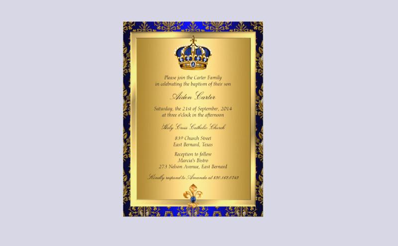 royal baptism invitation