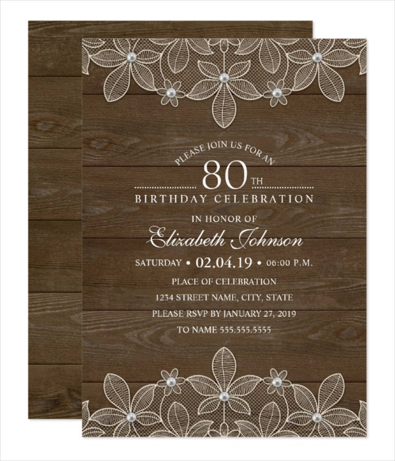 rustic 80th birthday party invitation