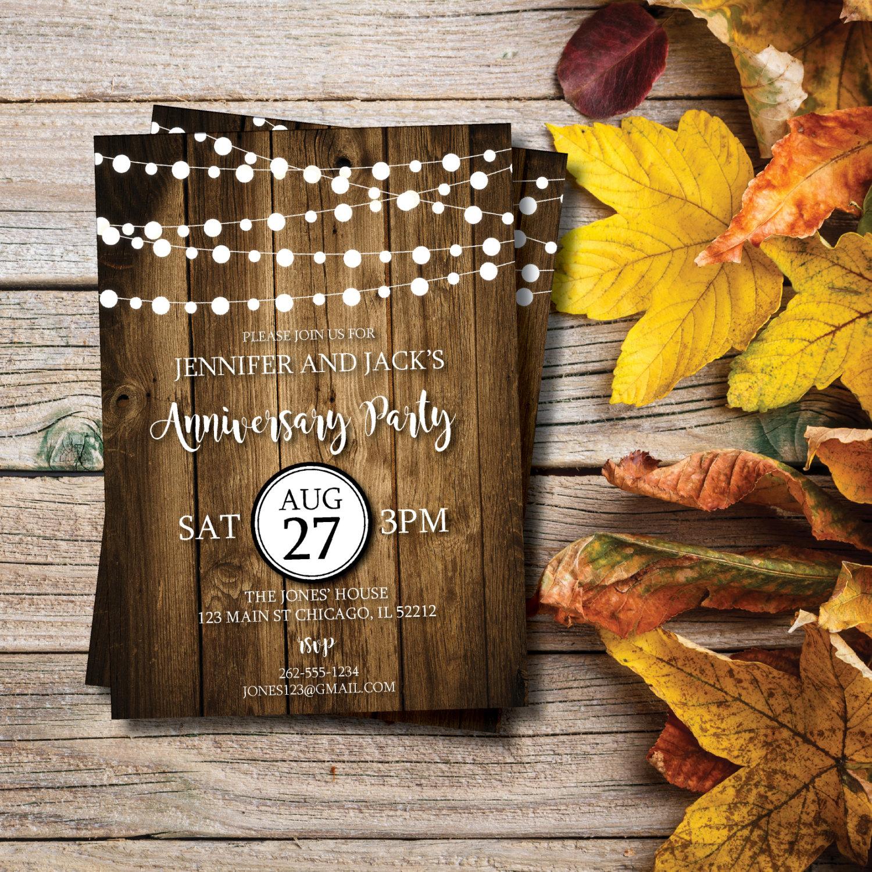 rustic anniversary party invitation
