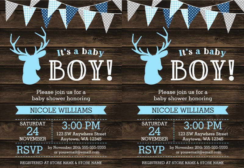 rustic baby shower invitation design