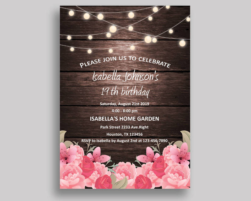 rustic birthday invitation card