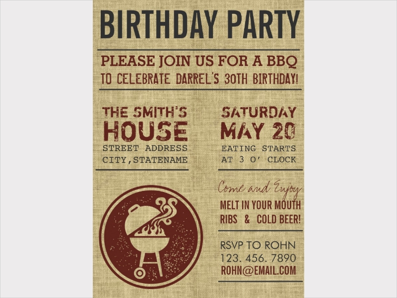 rustic birthday party bbq invitation