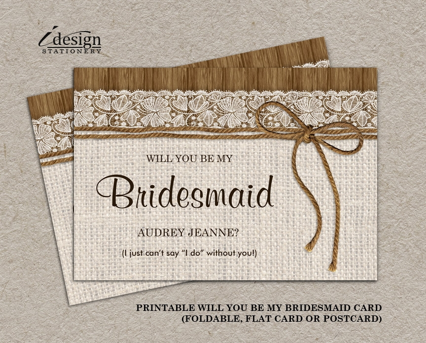 rustic bridesmaid invitation