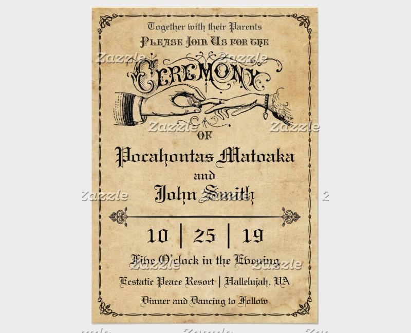 rustic ceremony wedding invitation
