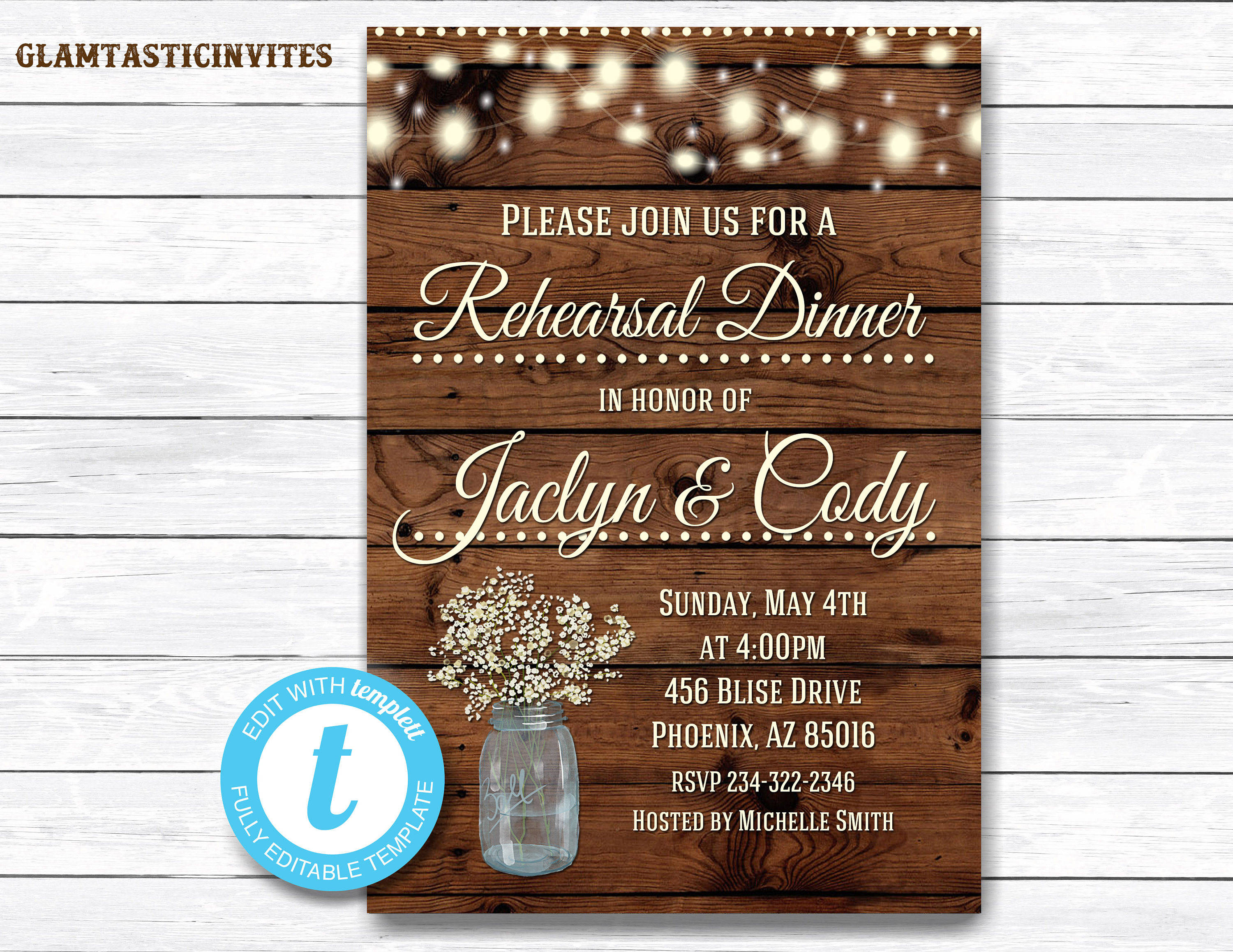 rustic dinner invitation template