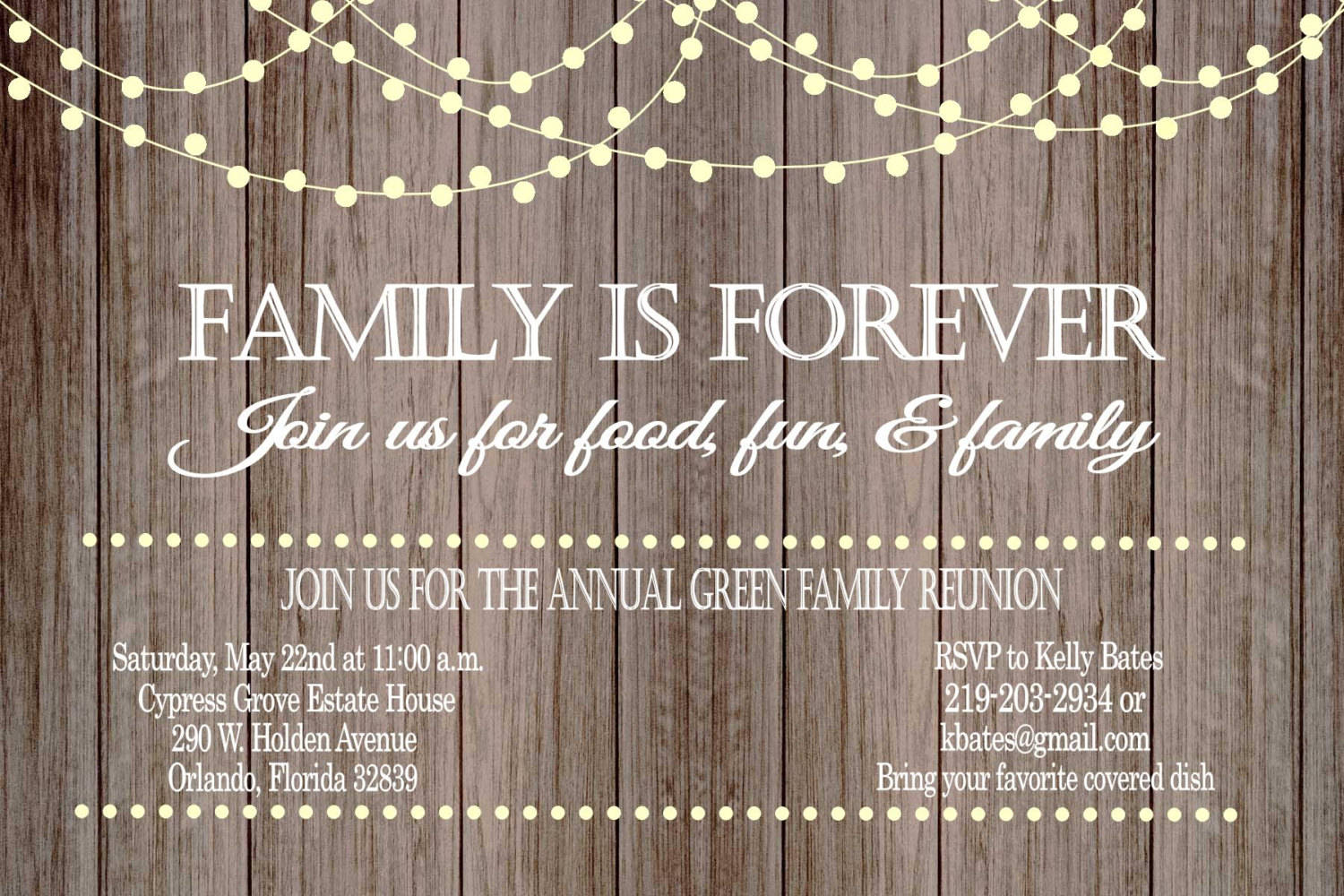 rustic family reunion invitation