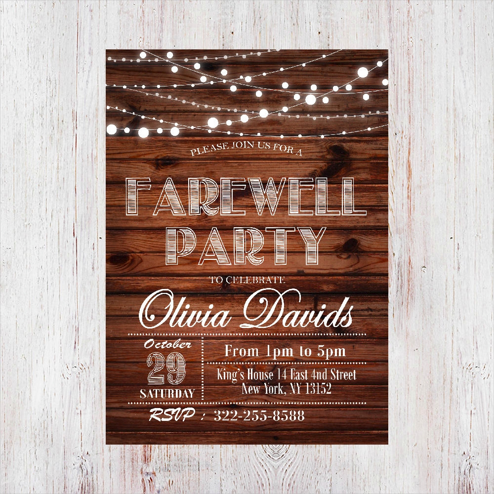 rustic farewell party invitation