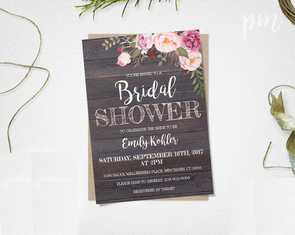 rustic floral bridal shower invitation template