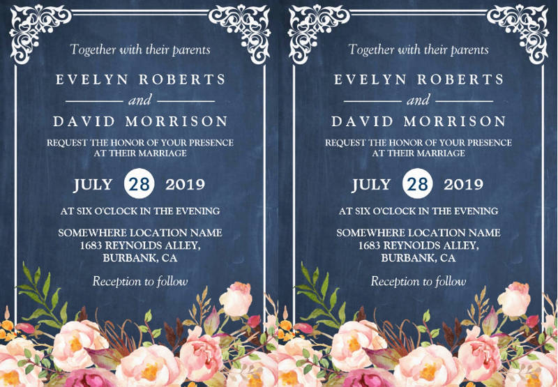 rustic floral chalkboard formal wedding invitation card