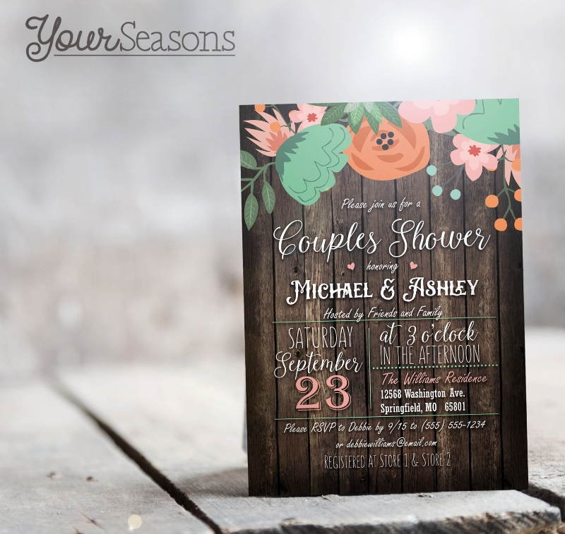 rustic floral couples shower invitation