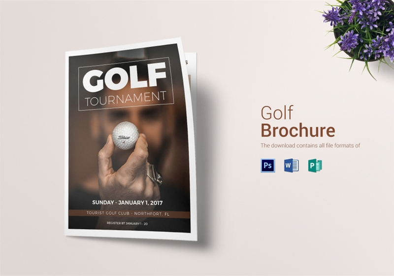 rustic golf bi fold brochure template