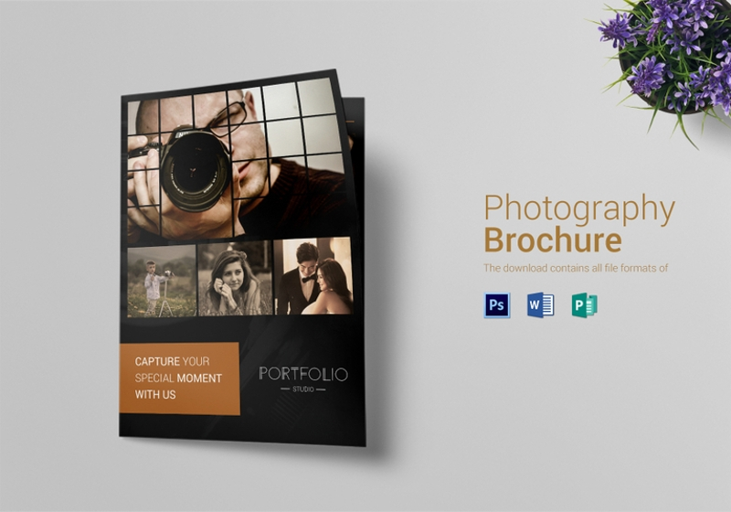 rustic photography brochure bi fold template
