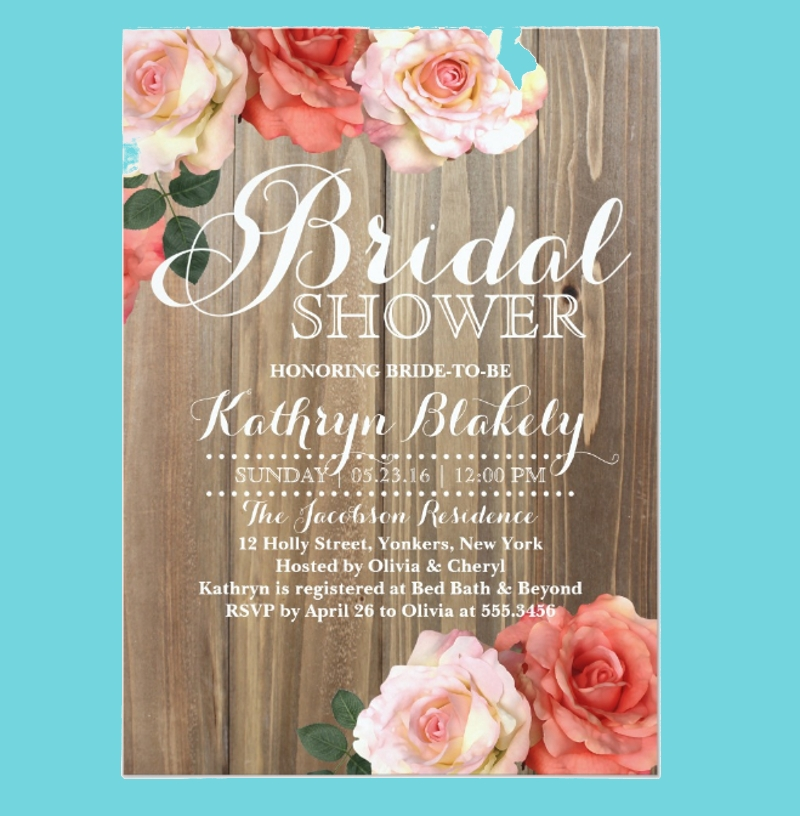 rustic roses bridal shower invitation