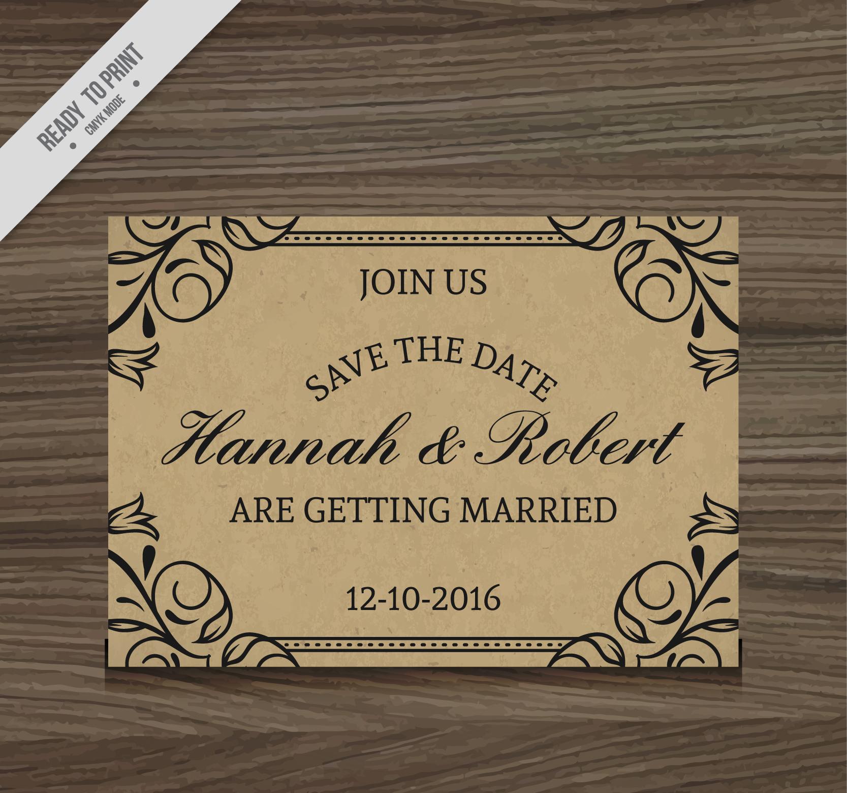 rustic style elegant wedding invitation