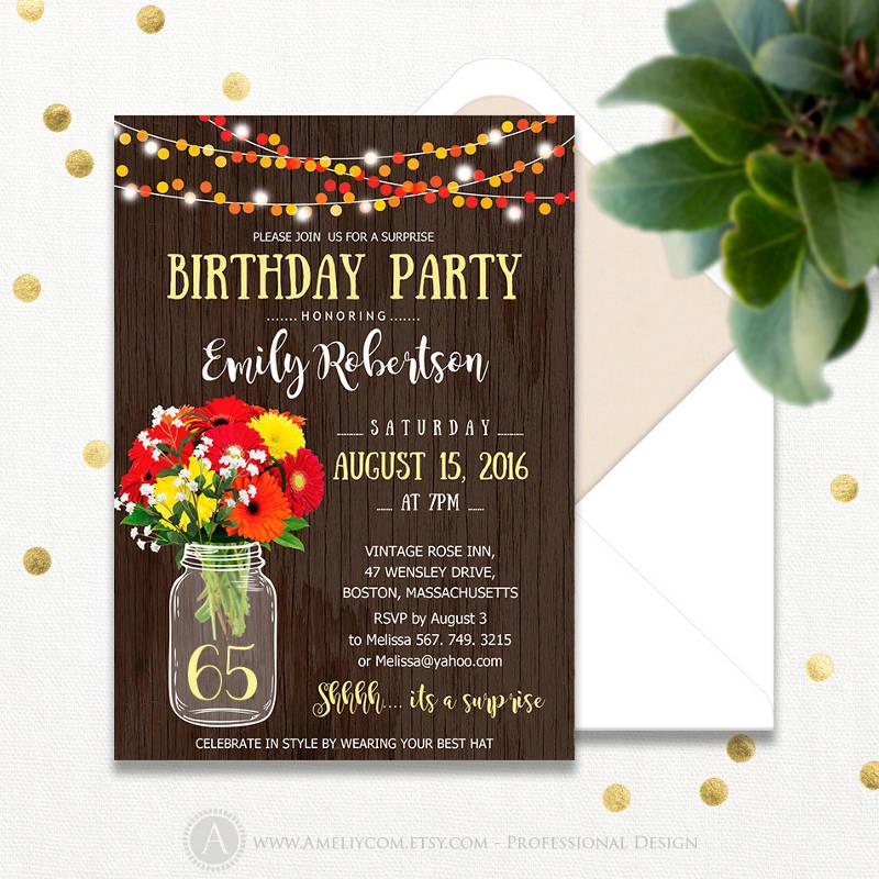 rustic surprise birthday invitation