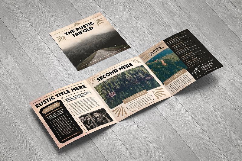 rustic trifold brochure design template