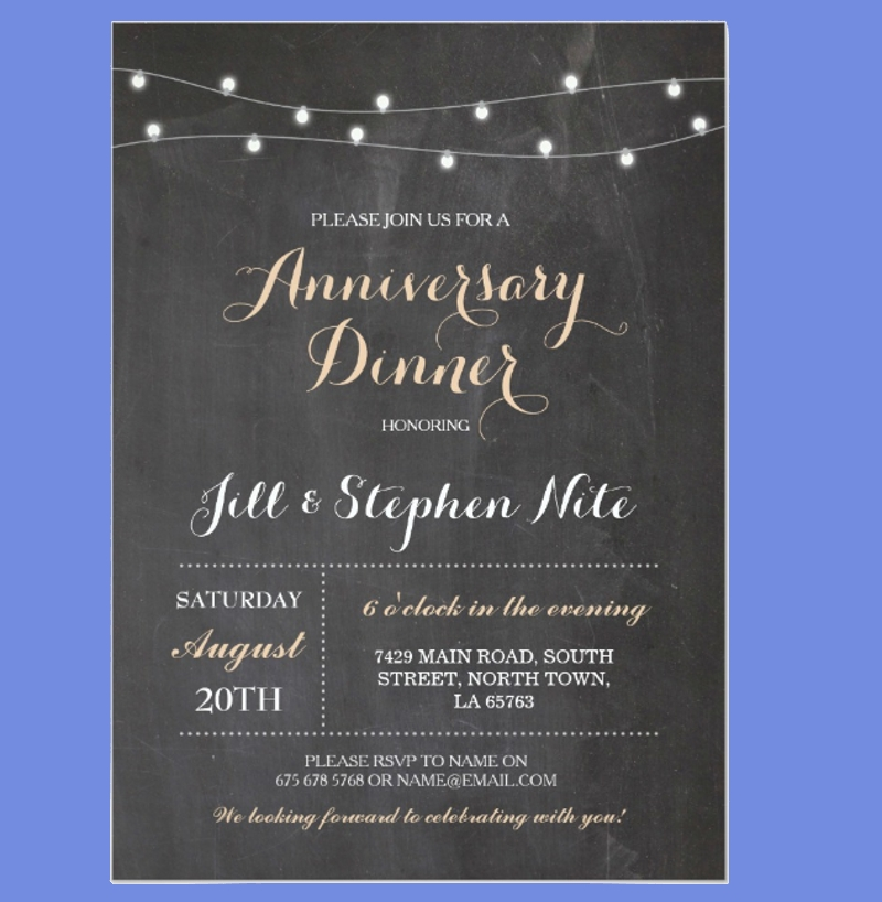 rustic wedding anniversary lights party invitation