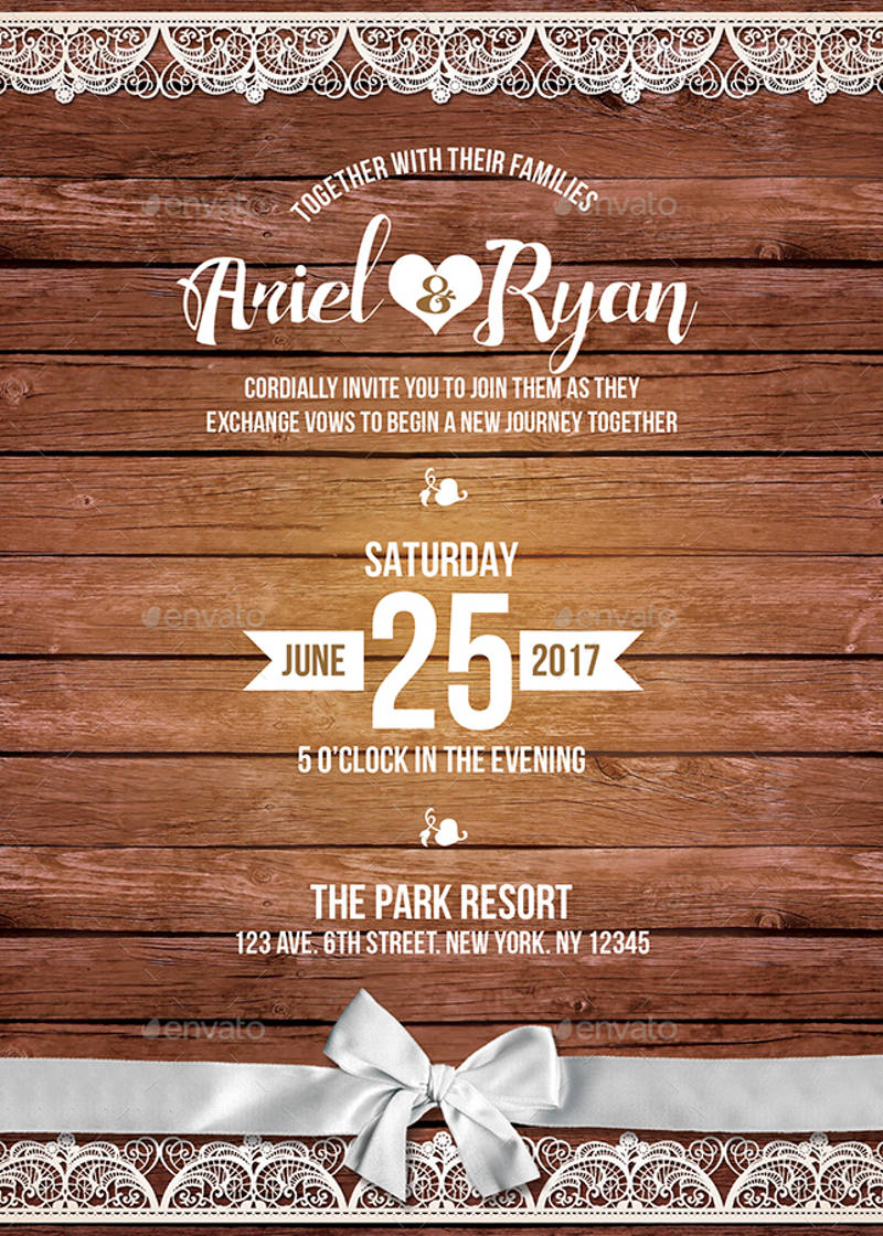rustic wedding invitation design template