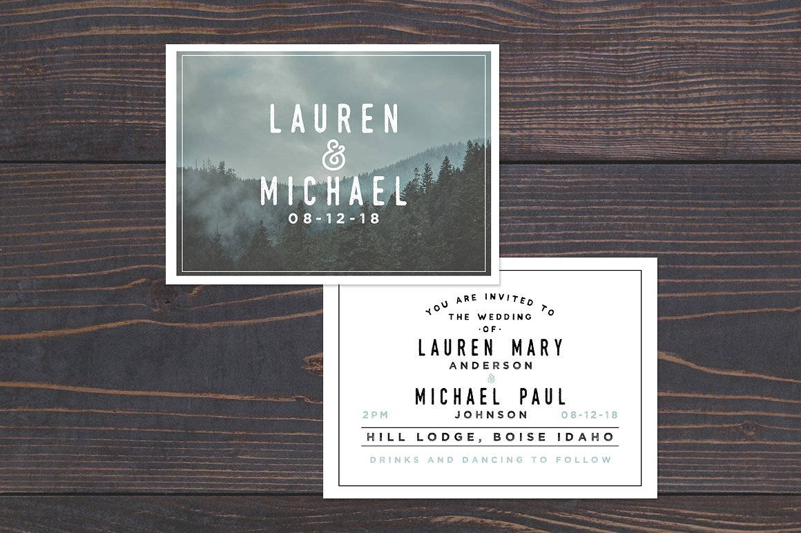 rustic wedding invitation template in psd