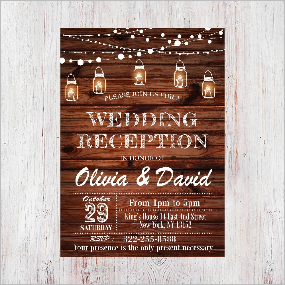 rustic wedding reception invitation