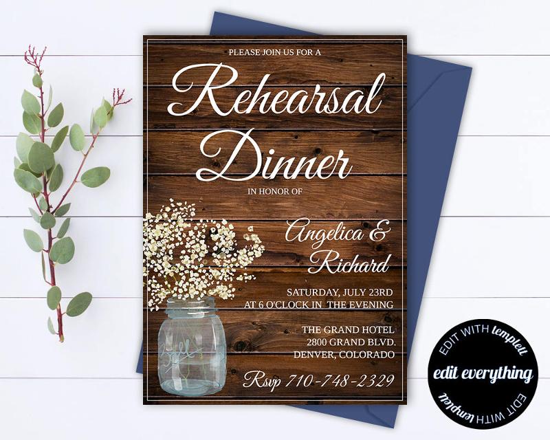rustic wedding rehearsal dinner invitation