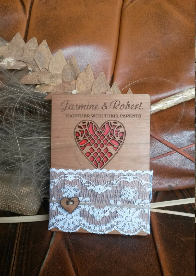 rustic wedding unique invitation invitation