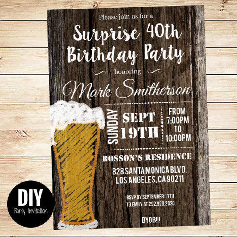 rustic wood adult birthday invitation