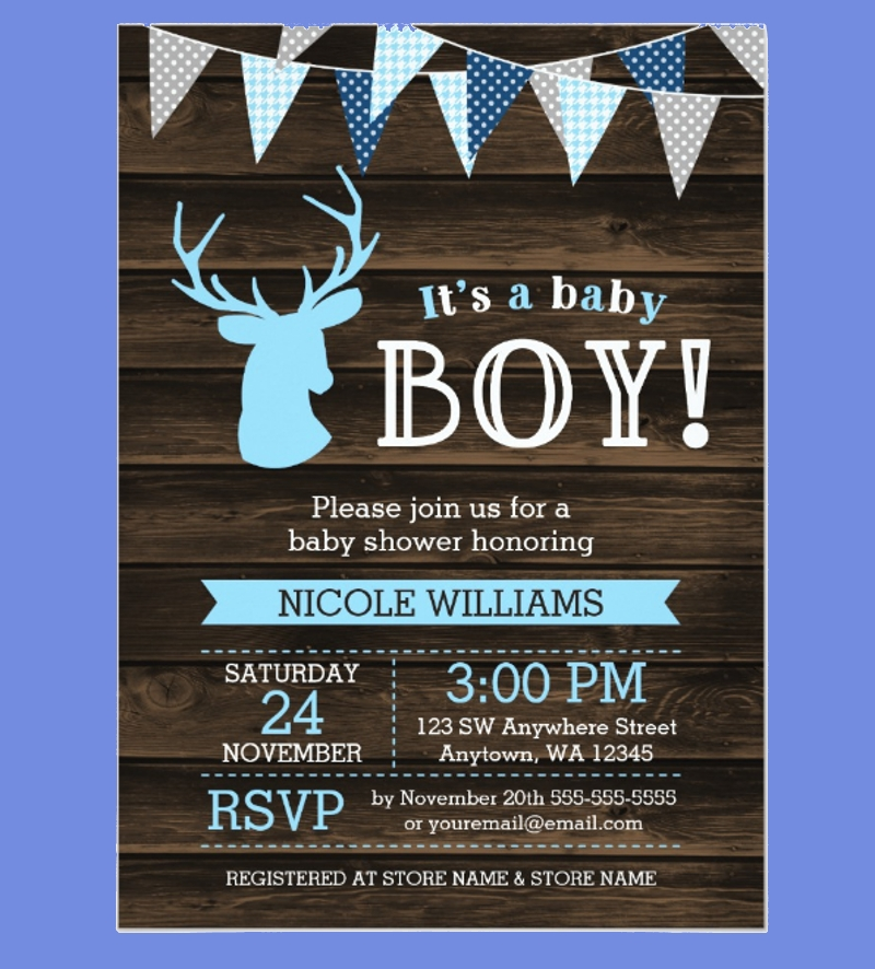 rustic wood blue deer boy baby shower invitation