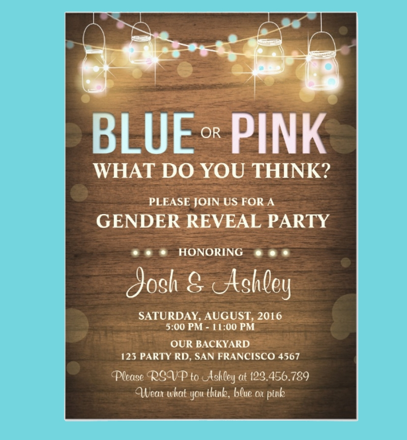 rustic wood gender reveal party invitation