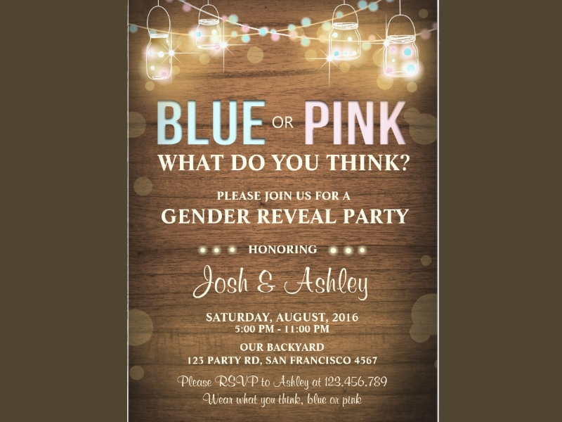 rustic wood shower gender reveal party invitation