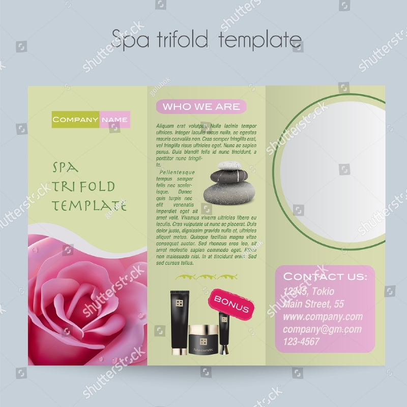 sample beauty spa salon tri fold brochure