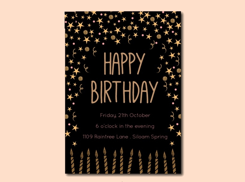 sample black and gold birthday invitation template