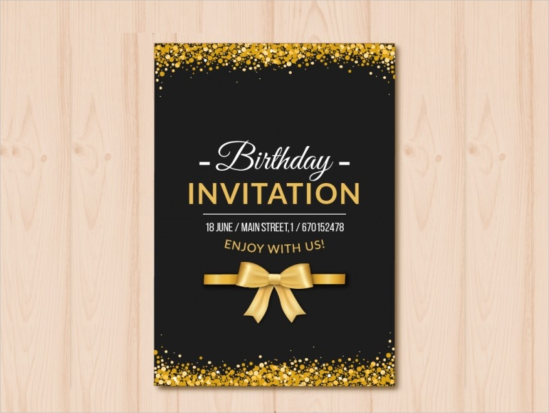 sample black and gold birthday invitation