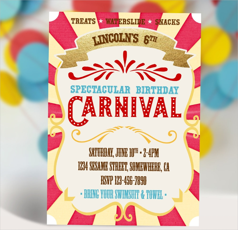 sample carnival birthday invitation