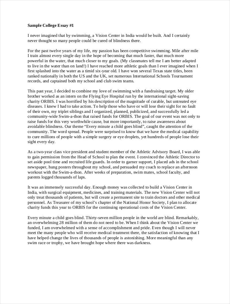 Business school entrance essay