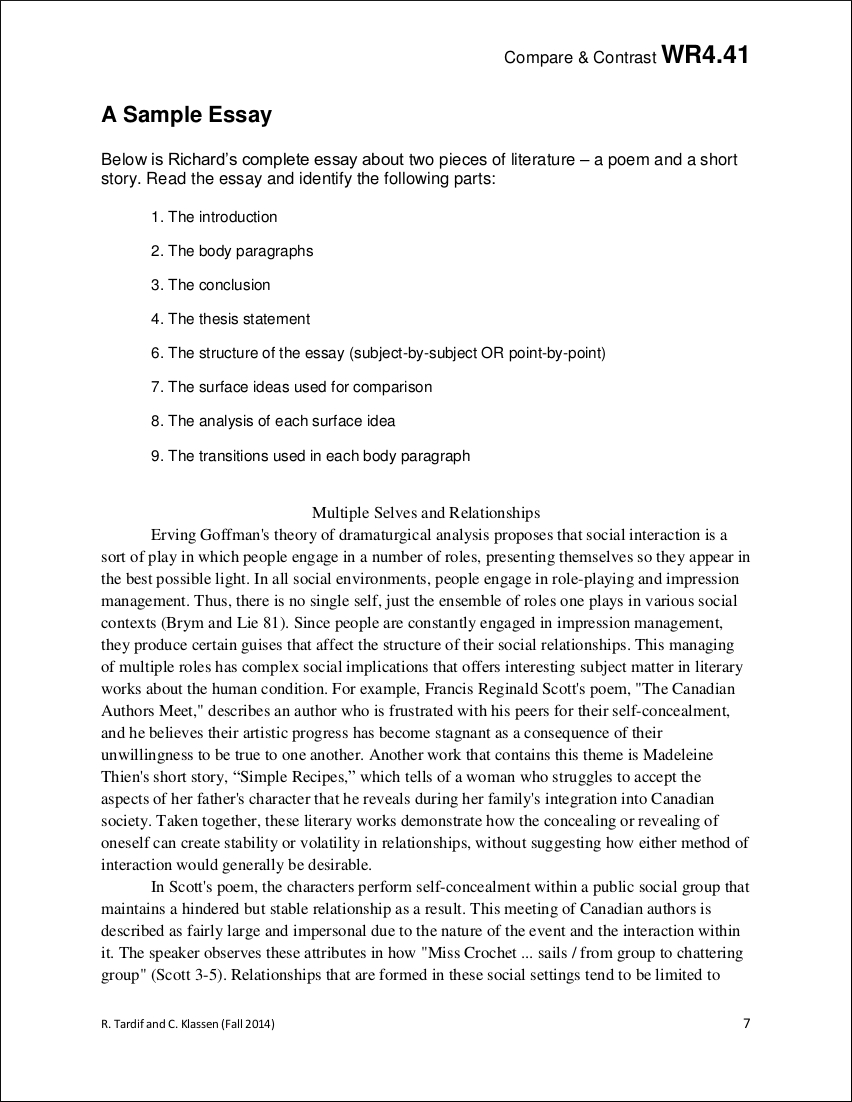 comparative essay samples sample comparative essay in pdf
