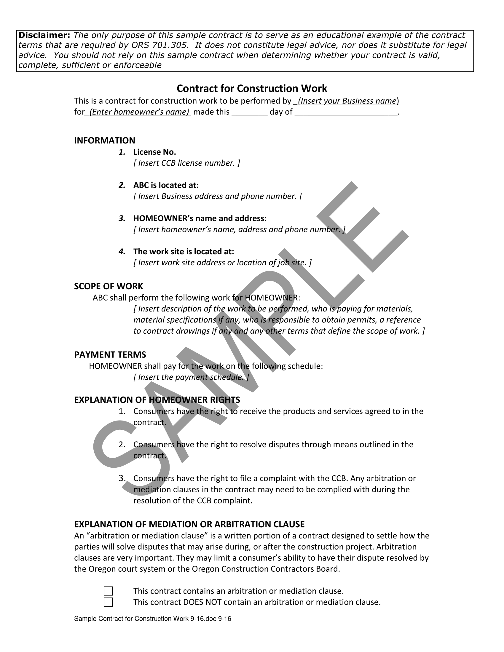 sample contract for construction work 11