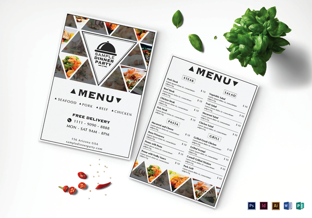 sample dinner menu mock up 767x537