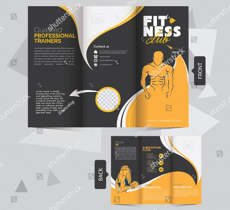 sample fitness trifold brochure design