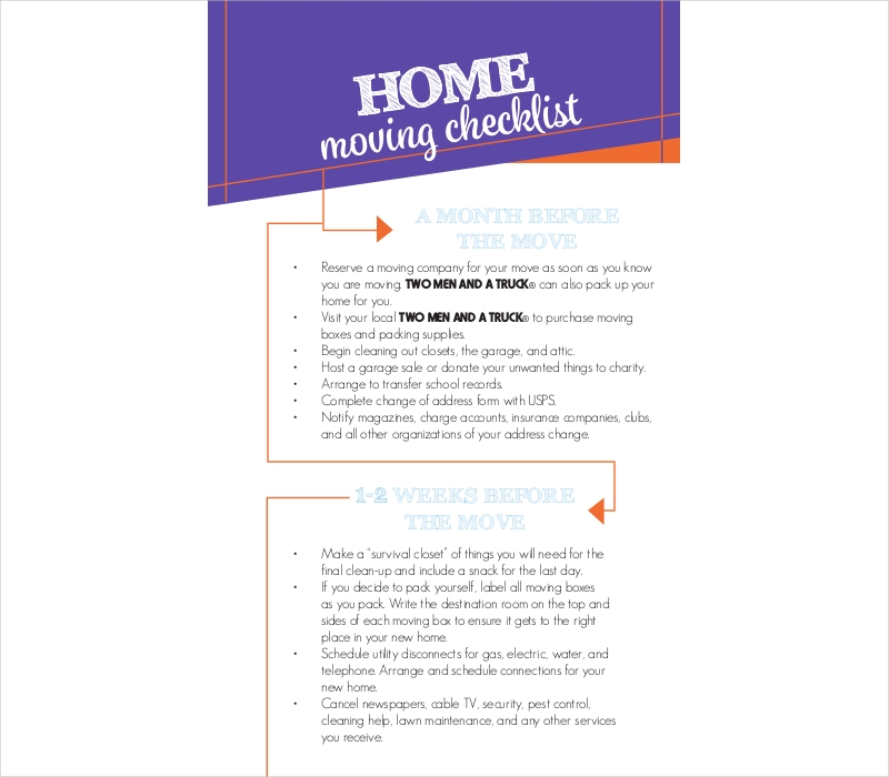 Moving Checklist Examples  Samples In Pdf