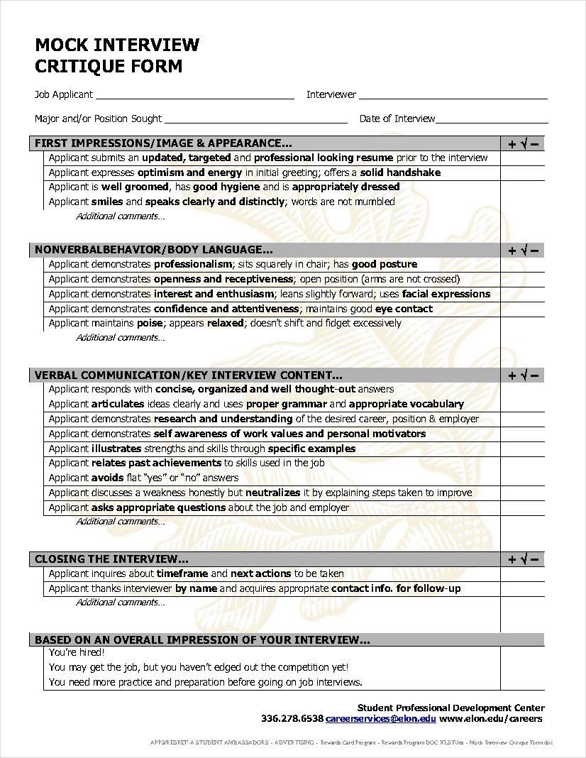 sample mock interview evaluation form