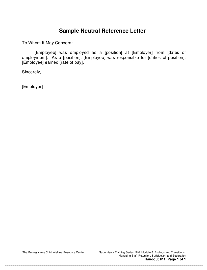 9 employee reference letter examples samples in pdf sample neutral employment reference letter altavistaventures Image collections