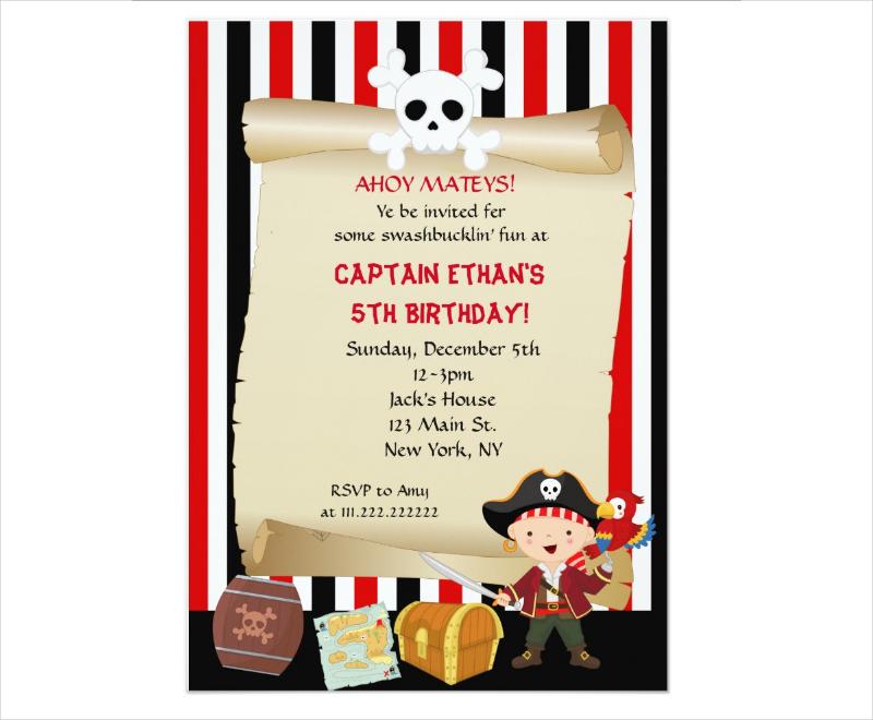sample pirate birthday party invitation