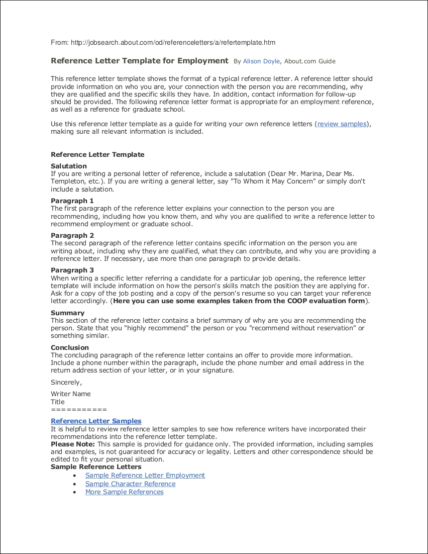 Employee Reference Letter Samples