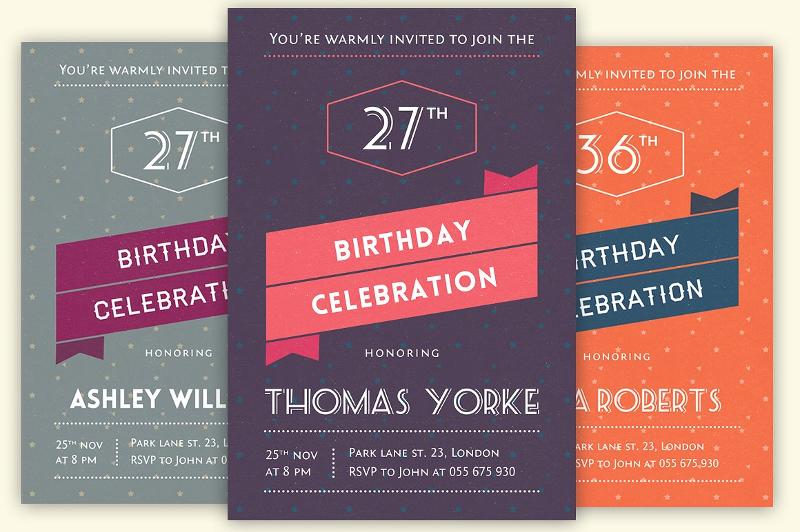 sample retro birthday invitation card