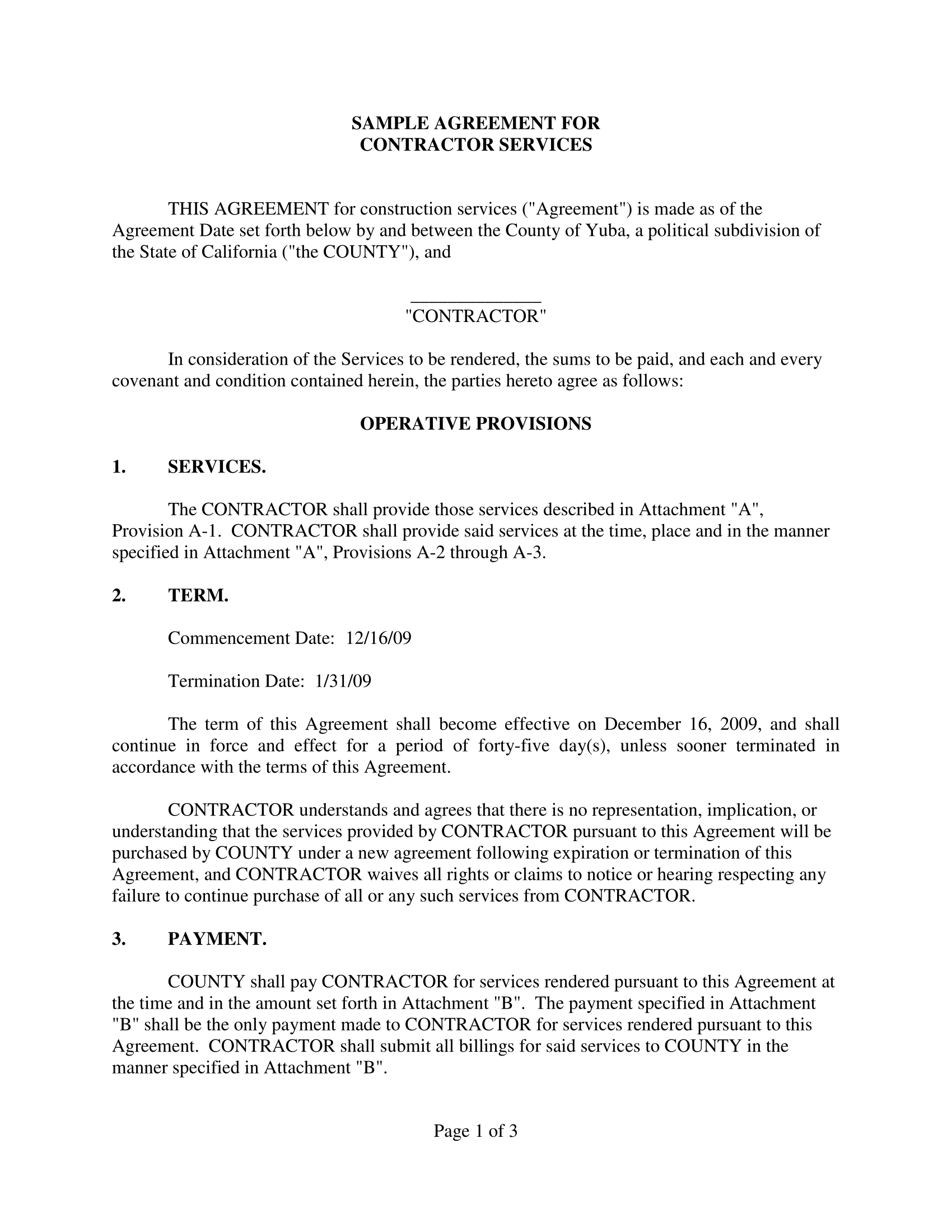 sample agreement for contractor services 01