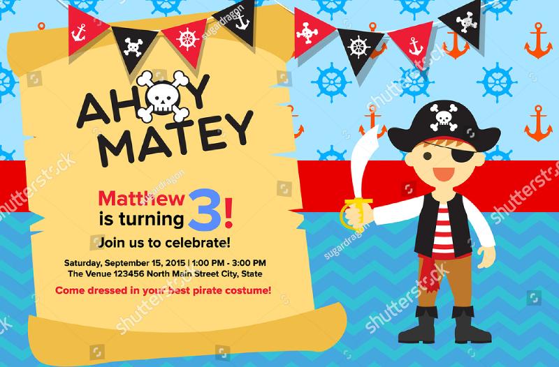 sample pirate birthday invitation