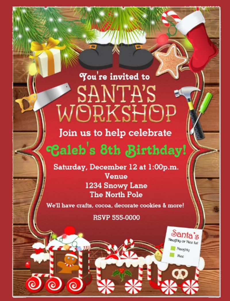santas workshop christmas party invitation